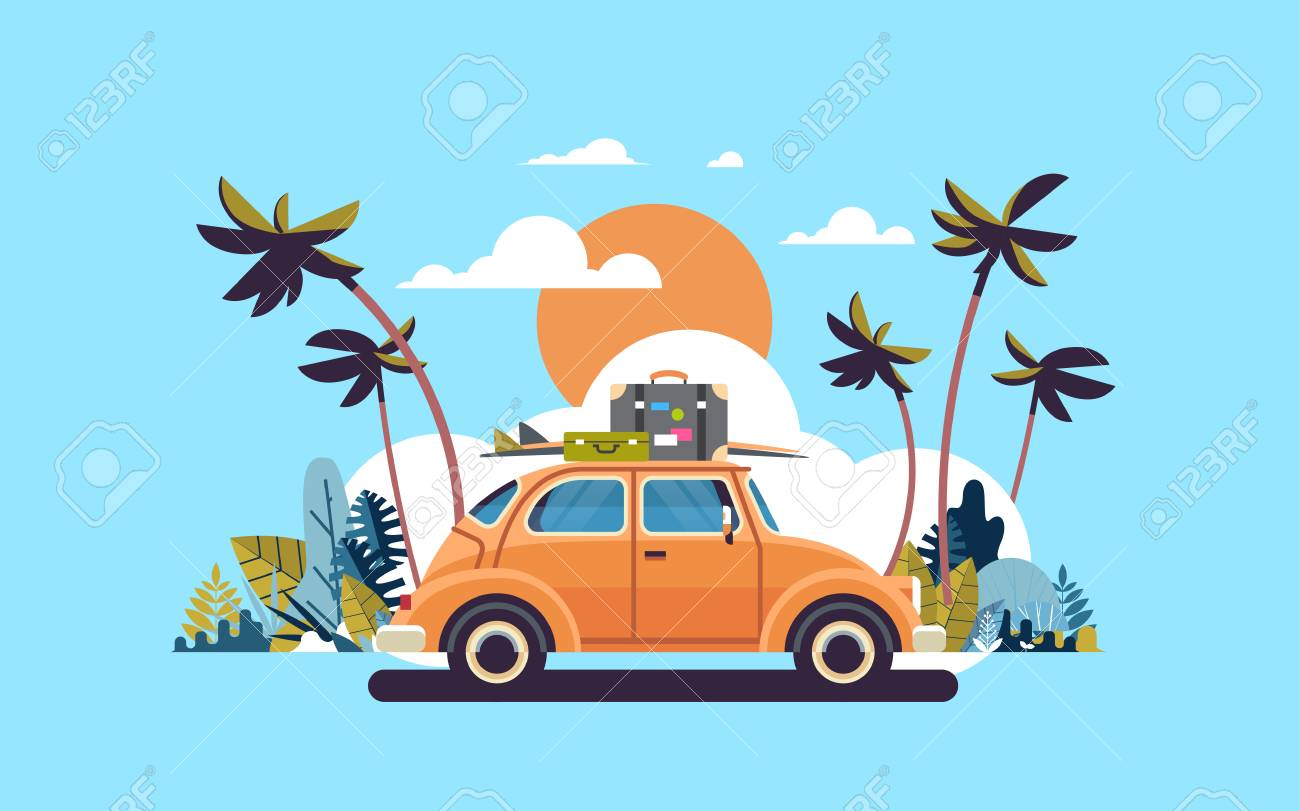 retro car with luggage on roof tropical sunset beach surfing vintage greeting card template poster flat vector illustration - 103842447