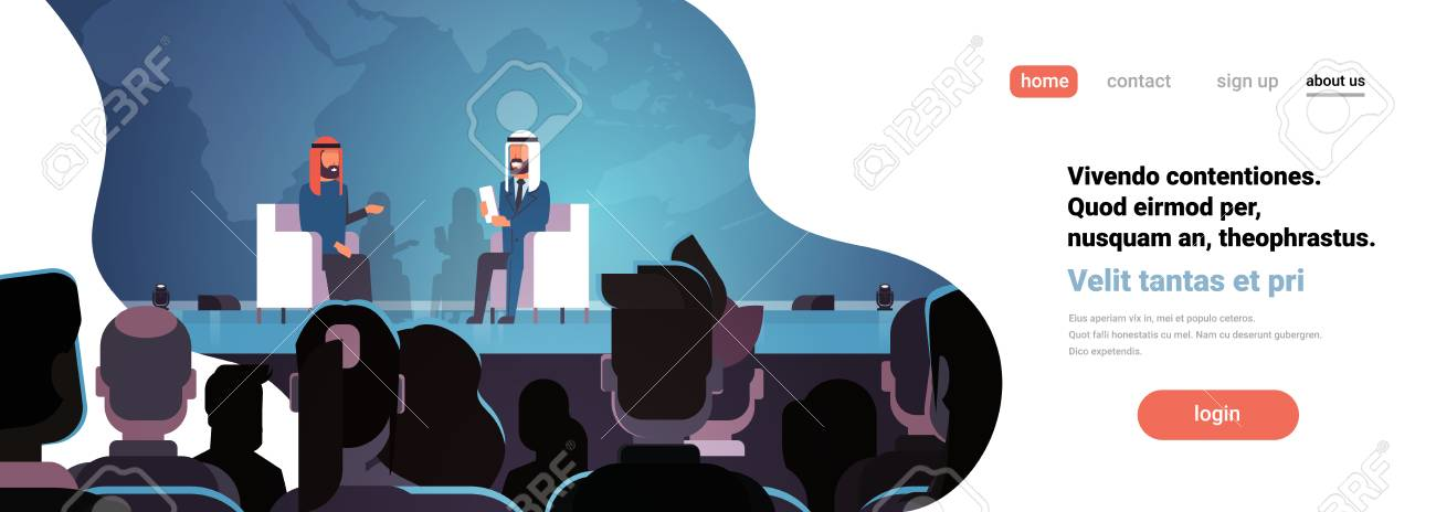 flat copy space vector illustration two arab business men politicians conference debate meeting interview talking over world map big audience