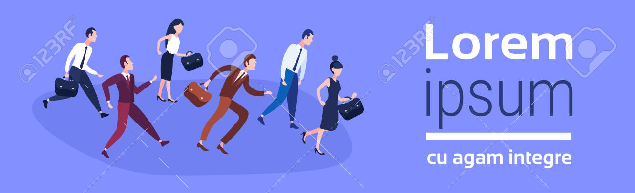 Business people group running team leader competition businessmen women race concept harry up hardworking process flat horizontal banner copy space vector illustration - 110250602