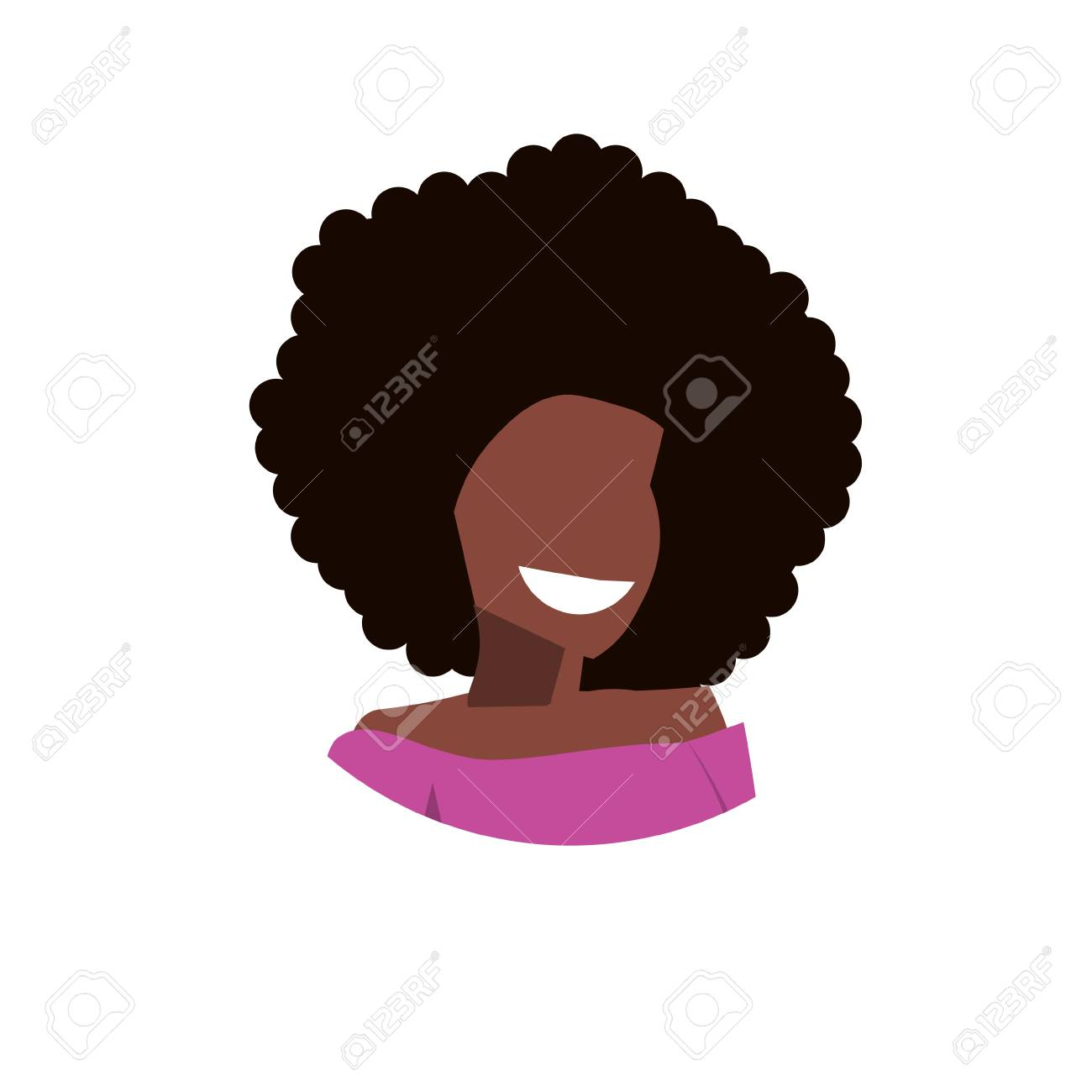 African American Woman Avatar Happy Lady Face Profile Female