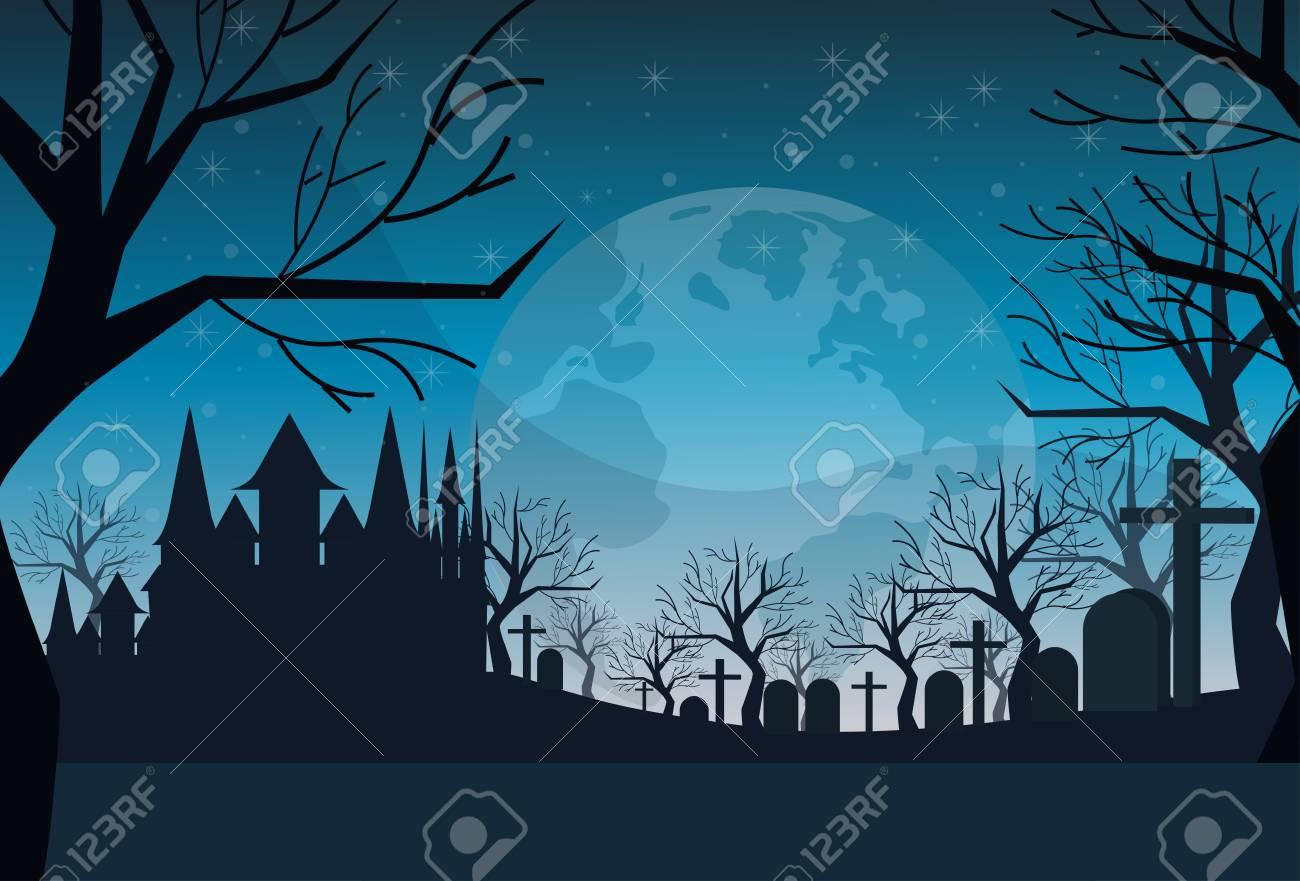 cemetery graveyard grave stone night full moon castle dracula house happy halloween concept horizontal flat vector illustration - 109975891