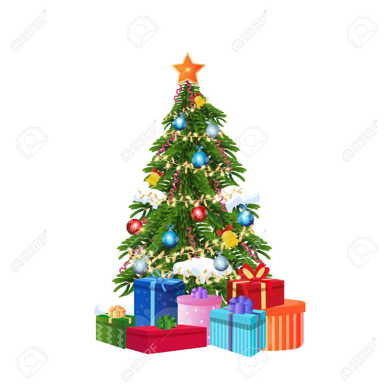 decorated gift box new year christmas tree concept isolated flat vector illustration - 128441967