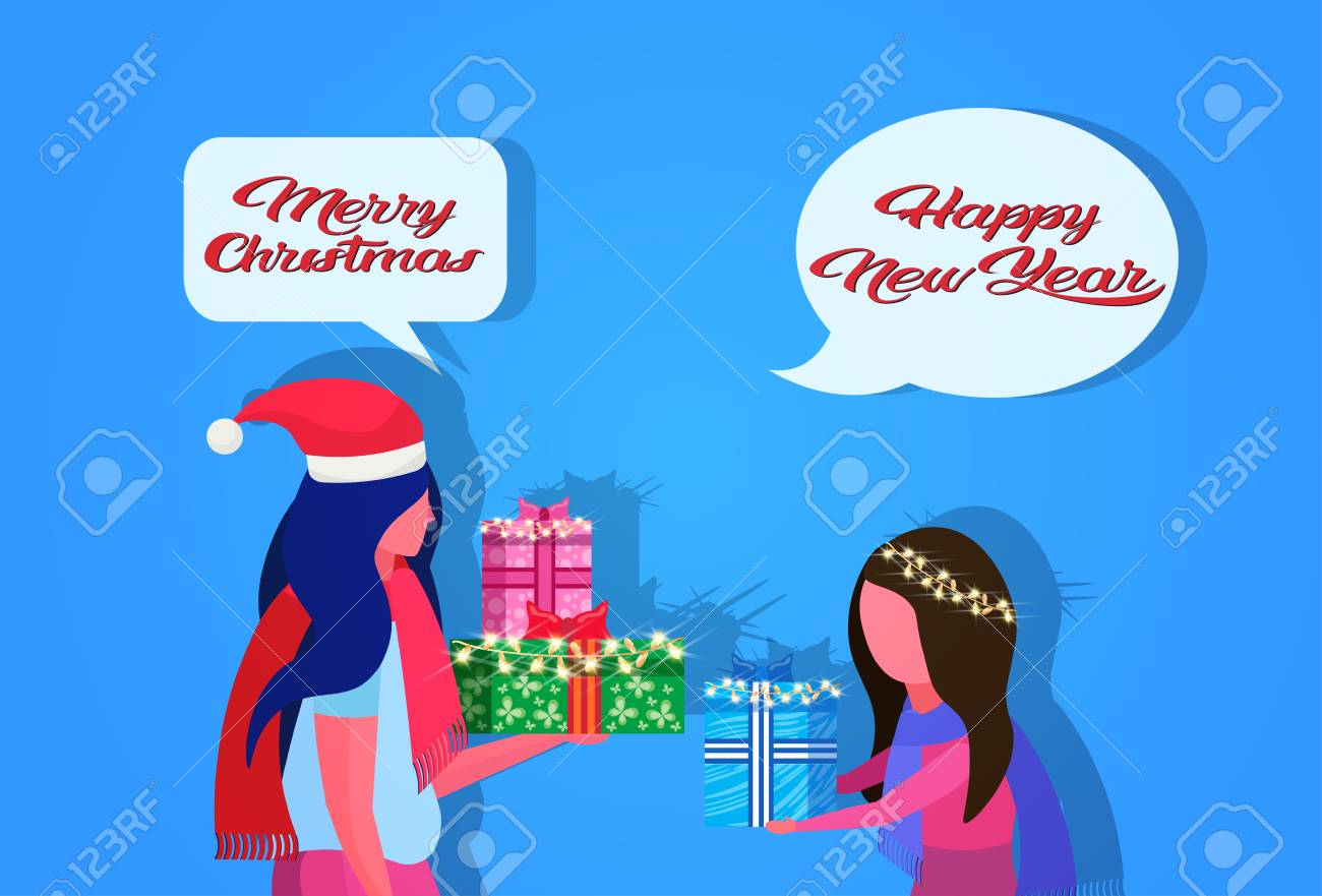 african american mother daughter giving gift box each other happy new year merry christmas concept chat