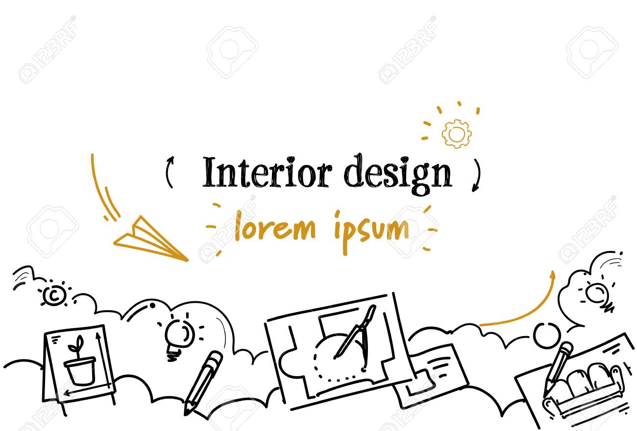 Architecture Compass Technical Drawing Interior Design Concept Sketch  Doodle Horizontal Isolated Copy Space Vector Illustration Stock