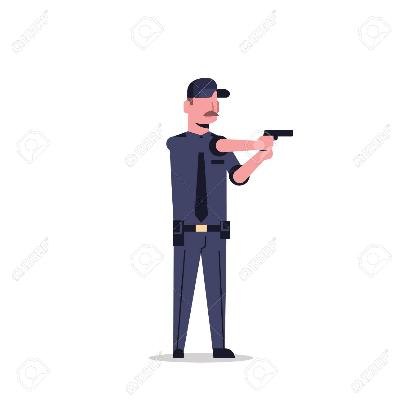 security guard man in black uniform holding pistol police officer