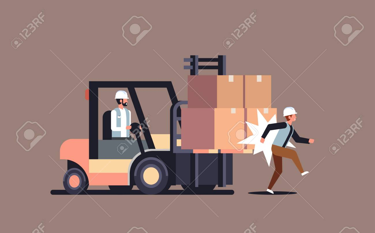 forklift driver hitting colleague factory accident concept warehouse logistic transport driver dangerous injured worker horizontal vector illustration - 126954533