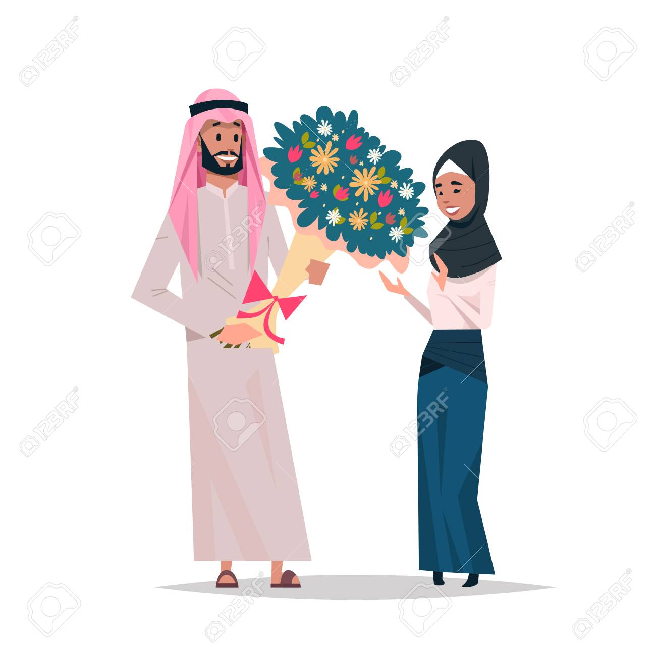 arab man present woman bouquet of flowers happy valentines day..
