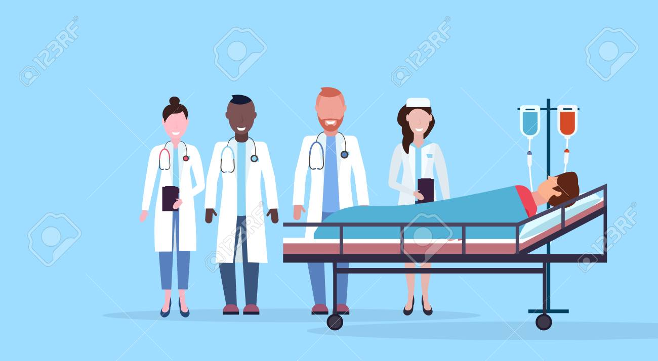 mix race doctors team visiting patient man lying bed intensive therapy ward healthcare concept hospital room blue bckground modern medical clinic horizontal vector illustration - 124991134