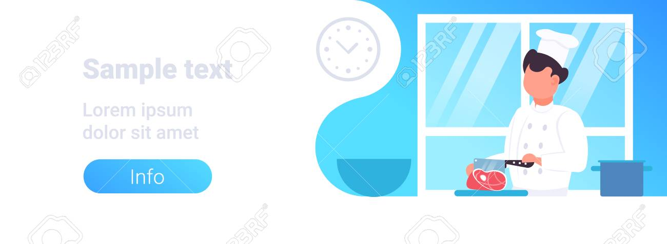555f10c5 ... horizontal portrait flat copy space vector illustration. male chef  cutting pork meat with knife male restaurant worker in uniform and hat  cooking food