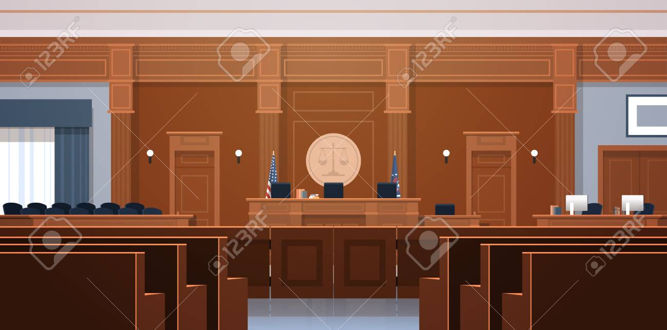 empty courtroom with judge and secretary workplace jury box seats modern courthouse interior justice and jurisprudence concept horizontal vector illustration - 124599230