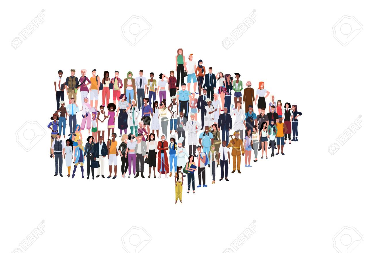 mix race people group different occupation standing together in arrow shape pointing direction concept male female workers full length horizontal banner flat white background vector illustration - 124416282