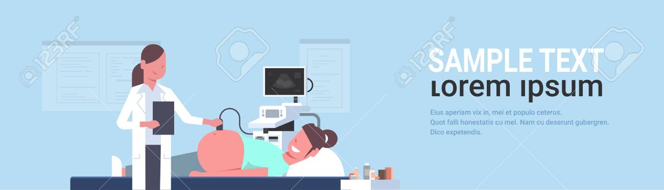 pregnant woman visiting female doctor doing ultrasound fetus screening at digital monitor gynecology consultation concept modern hospital clinic horizontal flat portrait copy space vector illustration - 119887548