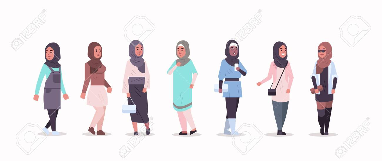 set arabic women in hijab different arab girls wearing headscarf traditional clothes female cartoon characters collection full length flat horizontal vector illustration - 128444493