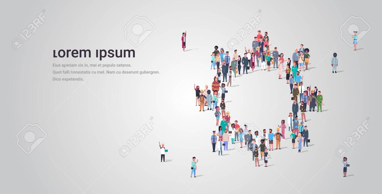 people crowd gathering in gear wheel icon shape social media community teamwork process concept different occupation employees group standing together full length horizontal copy space vector illustration - 128445114