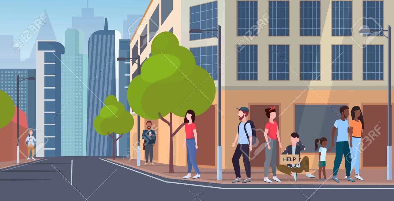 man beggar holding sign board with help text tramp sitting outdoor on city street begging for help homeless jobless concept cityscape background flat full length vector illustration - 128445382