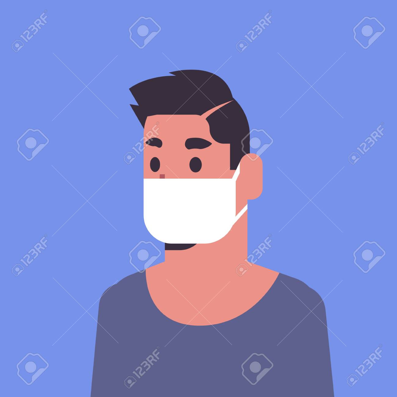 man wearing face mask environmental industrial smog dust toxic air pollution and virus protection concept male cartoon character portrait flat vector illustration - 129114480