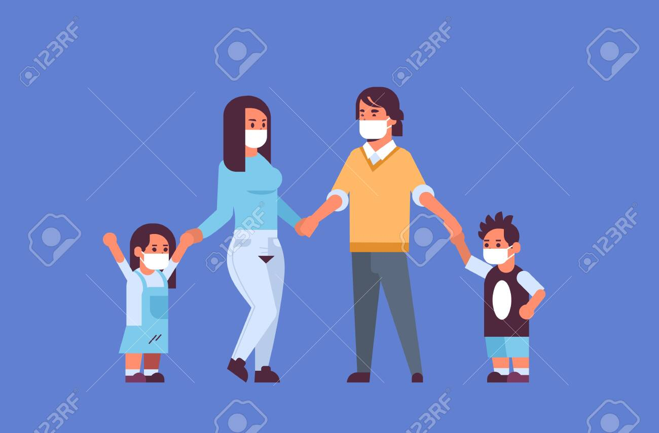 parents and children wearing face masks environmental industrial smog dust toxic air pollution and virus protection concept family holding hands standing together full length horizontal flat vector illustration - 129397706