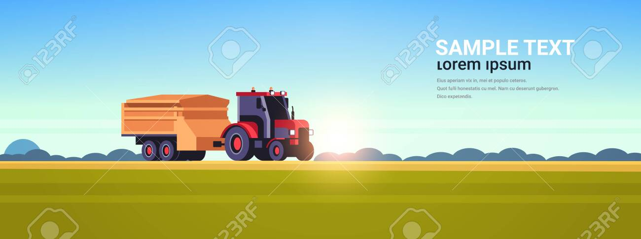 tractor with trailer heavy machinery working in field smart farming modern technology organization of harvesting concept sunset landscape background flat horizontal copy space vector illustration - 133659656