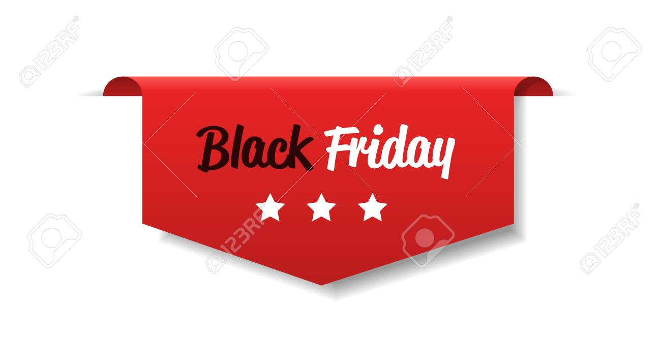 special offer sale promo marketing black friday holiday shopping concept red discount sticker symbol for advertising campaign in retail horizontal vector illustration - 134196348