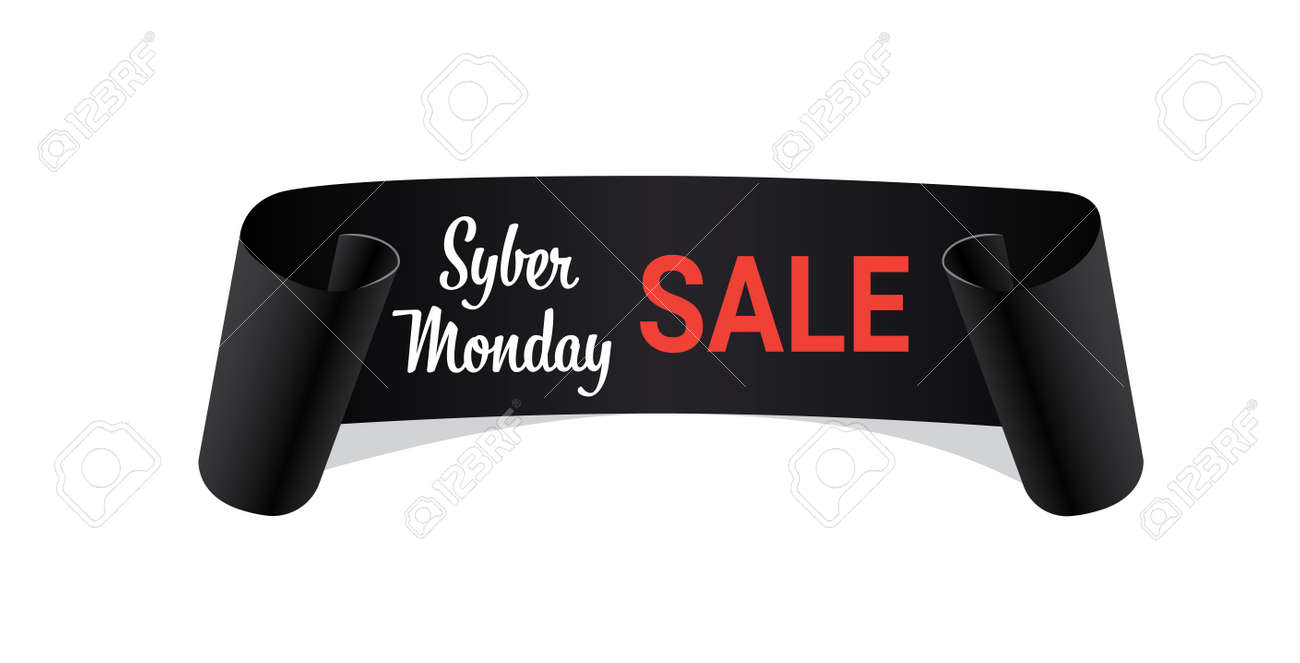 black curved banner cyber monday sale concept ribbon shape holiday shopping horizontal vector illustration - 134196286