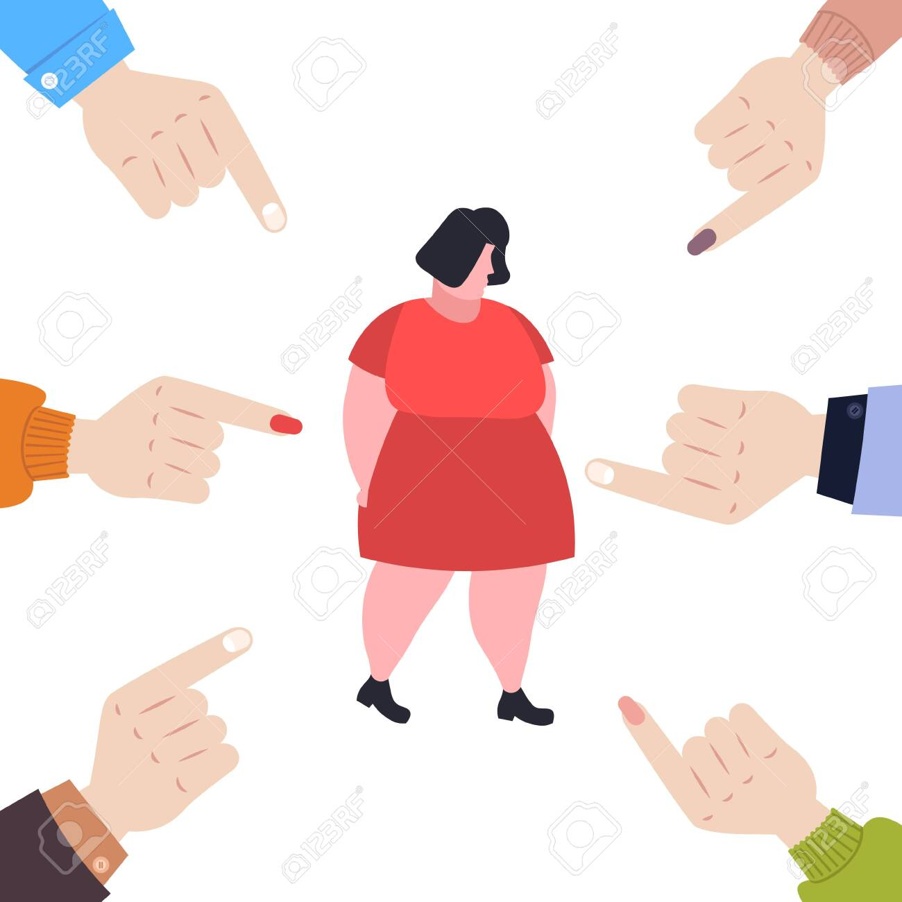 depressed overweight woman being bullied surrounded by fingers pointing on upset fat female character peer violence victim of bullying mocking public disapproval concept full length vector illustration - 137265776