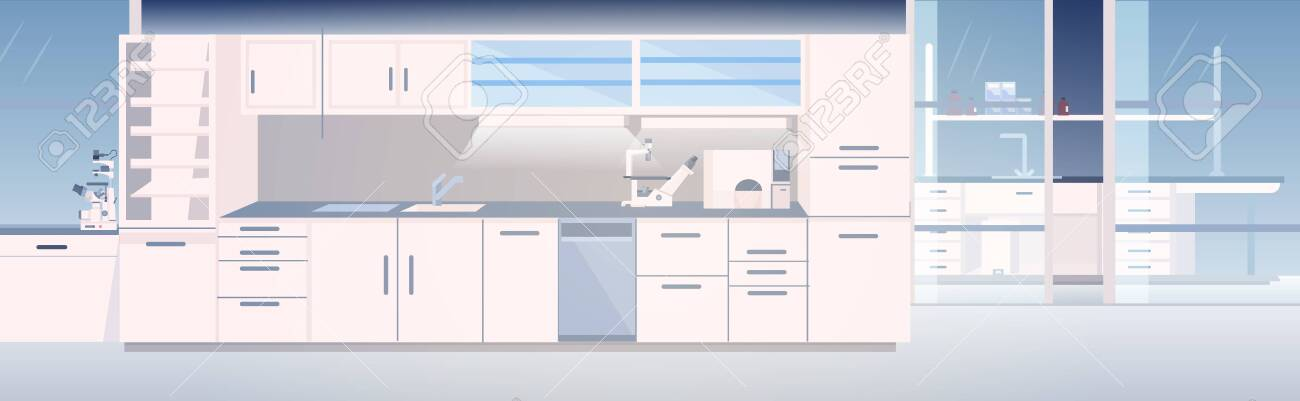 modern lab interior empty no people chemical laboratory with furniture horizontal vector illustration - 142925920