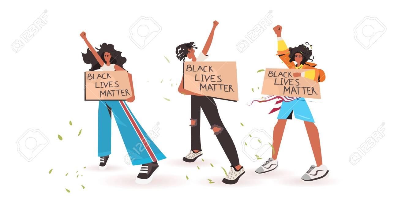 african american people holding black lives matter banner campaign against racial discrimination of dark skin color social problems of racism full length horizontal vector illustration - 148927376