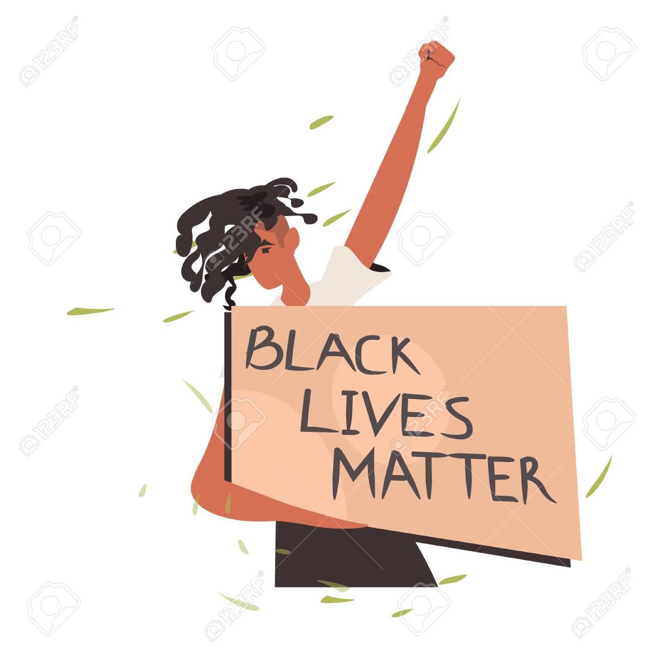 african american woman holding black lives matter banner campaign against racial discrimination of dark skin color social problems of racism portrait vector illustration - 148924110