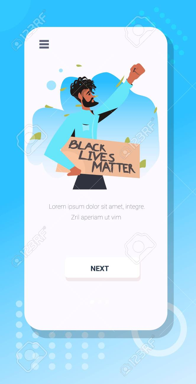african american man holding black lives matter banner campaign against racial discrimination of dark skin color social problems of racism smartphone screen vertical portrait vector illustration - 148924735