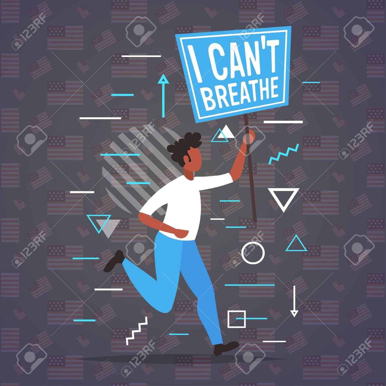 african american man holding i cant breathe banner black lives matter campaign against racial discrimination of dark skin color support for equal rights of black people full length vector illustration - 149310648