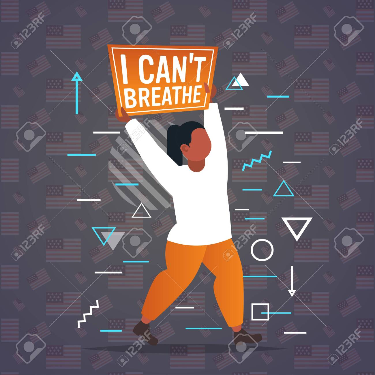 african american woman holding i cant breathe banner black lives matter campaign against racial discrimination of dark skin color support for equal rights of black people full length vector illustration - 149310399