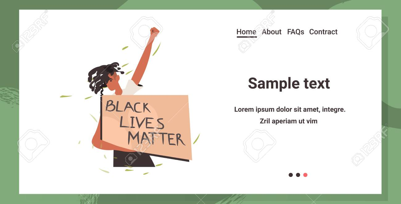 african american woman holding black lives matter banner campaign against racial discrimination of dark skin color social problems of racism portrait horizontal copy space vector illustration - 149416538