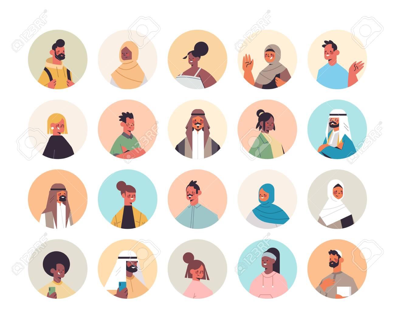 set mix race people avatars men women portraits collection male female cartoon characters - 152391906