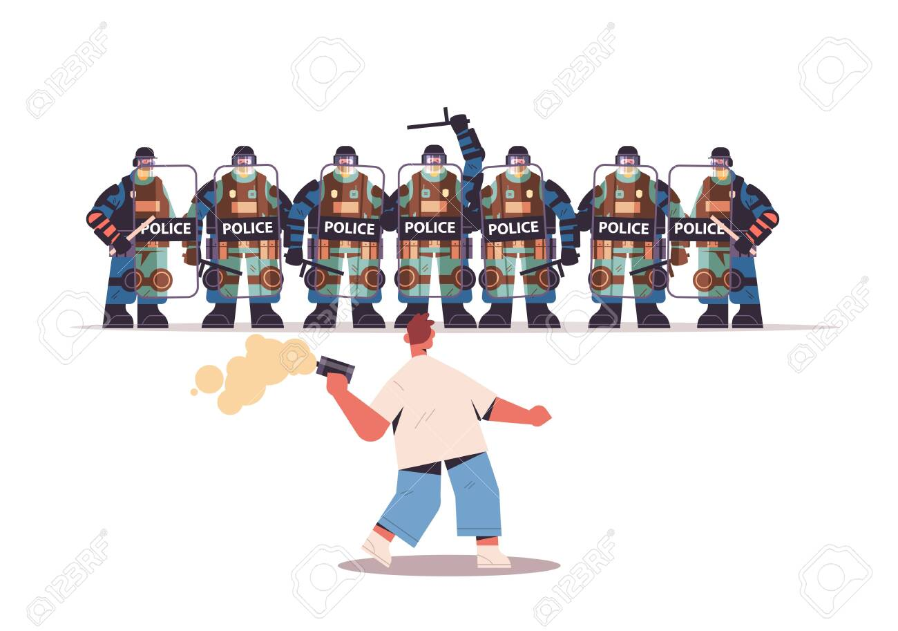 policemen in full tactical gear riot police attacking protester during clashes demonstration protest control concept full length horizontal vector illustration - 153993299