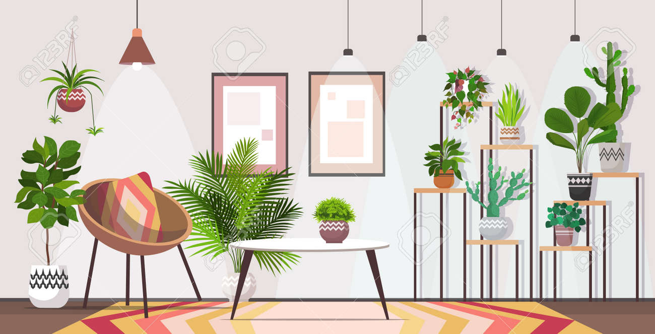 modern living room interior home apartment with houseplants - 154393899