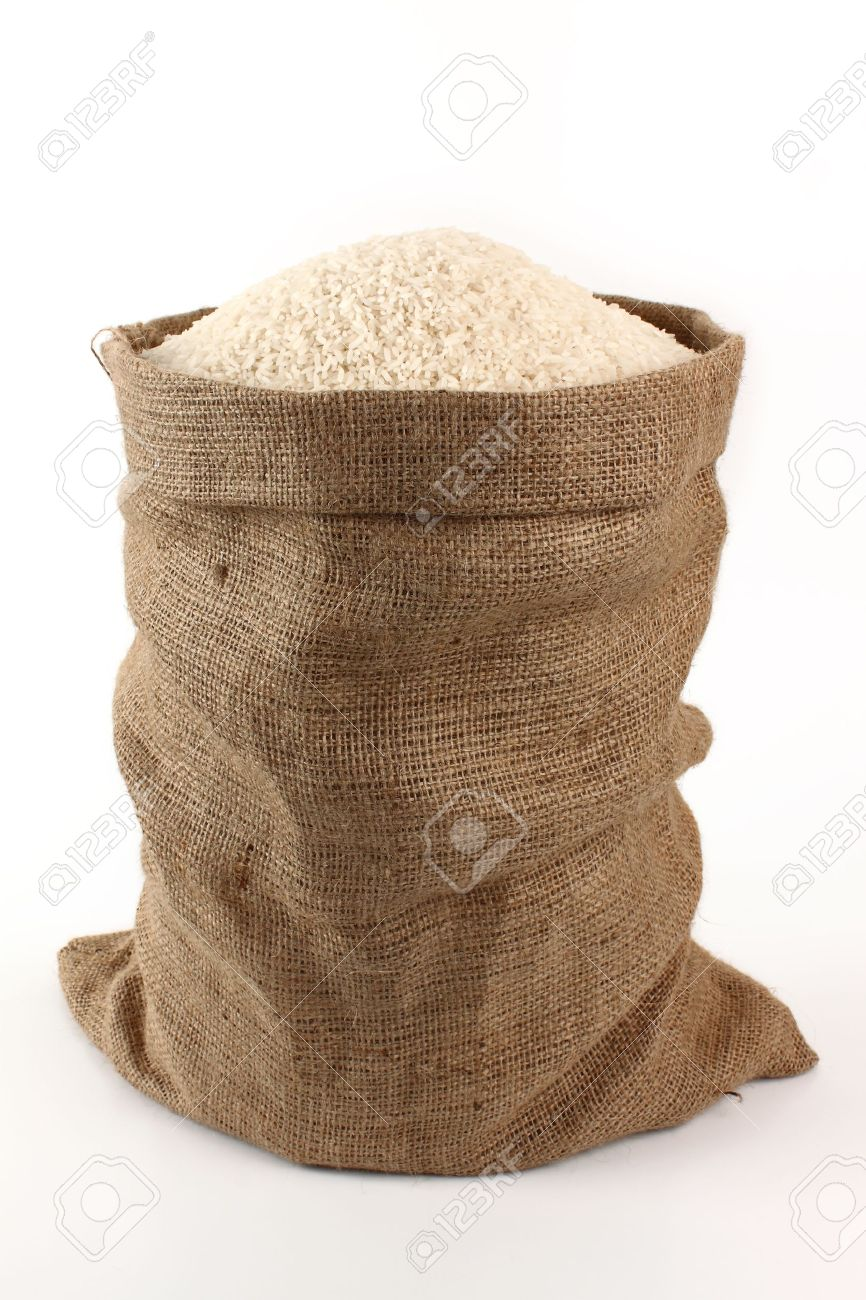 sack of rice on a white background Stock Photo - 8915177