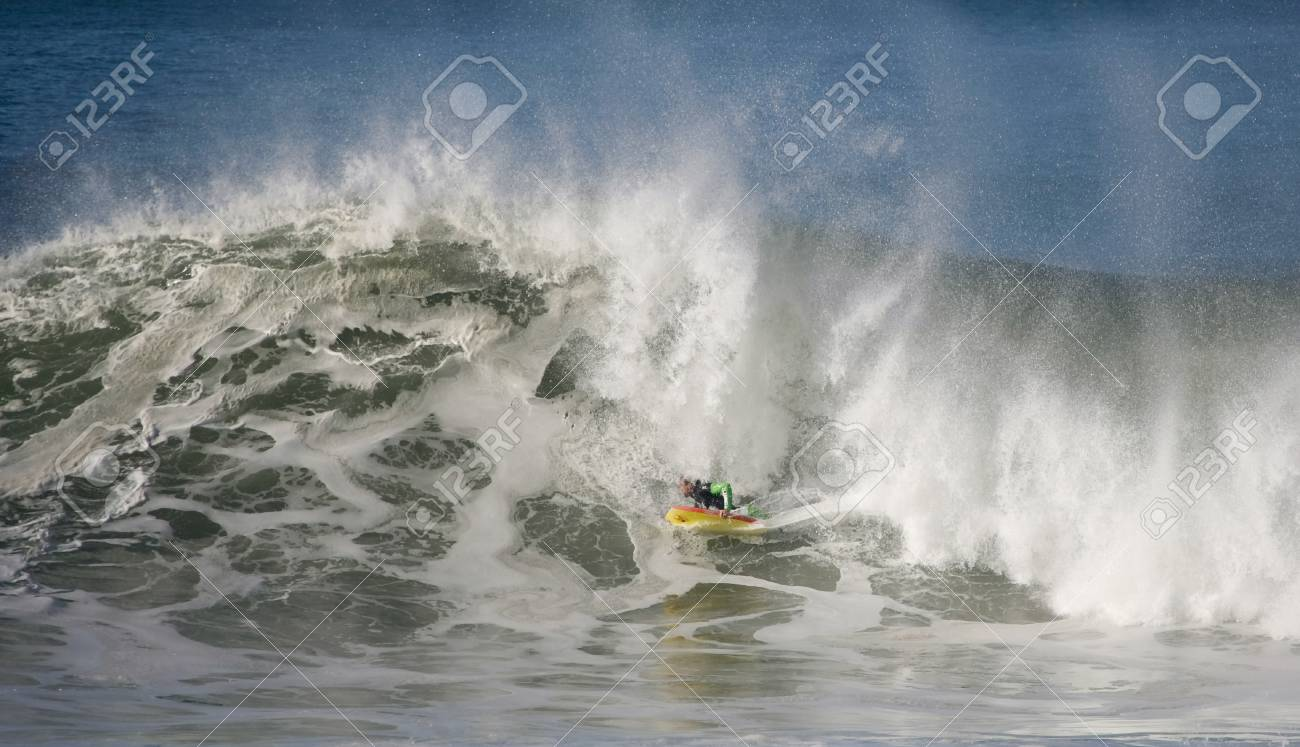 NAZARE, PORTUGAL - JANUARY 8 : Fabio Laureano (PRT) in Nazare Special Edition 2011 Round 1 Heat 3 January 8, 2012 in Nazare, Portugal Stock Photo - 11925484