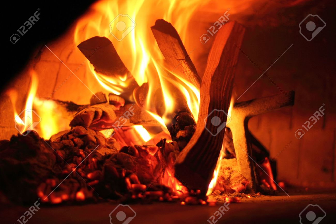 Firewood Oven To Bake Italian Pizza - Fire Detail Stock Photo - 13827348
