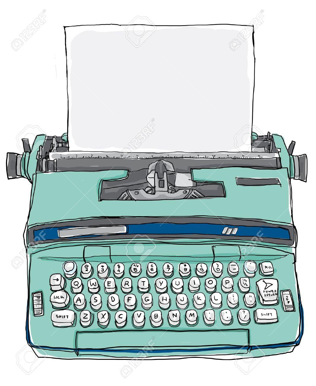 blue Typewriter vintage - 14196486