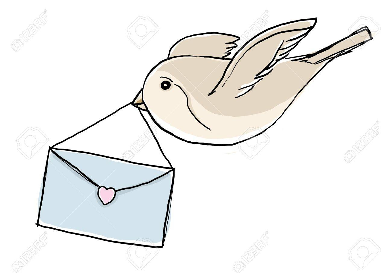 bird with love letter stock photo, picture and royalty free image