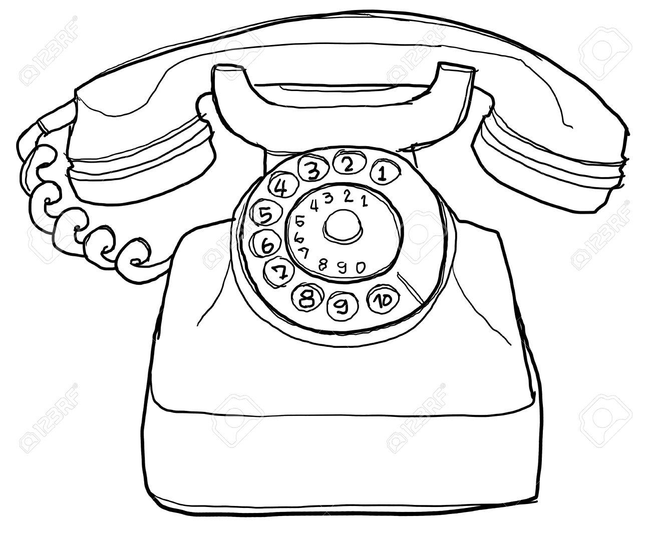 old telephone b&w - 14981436
