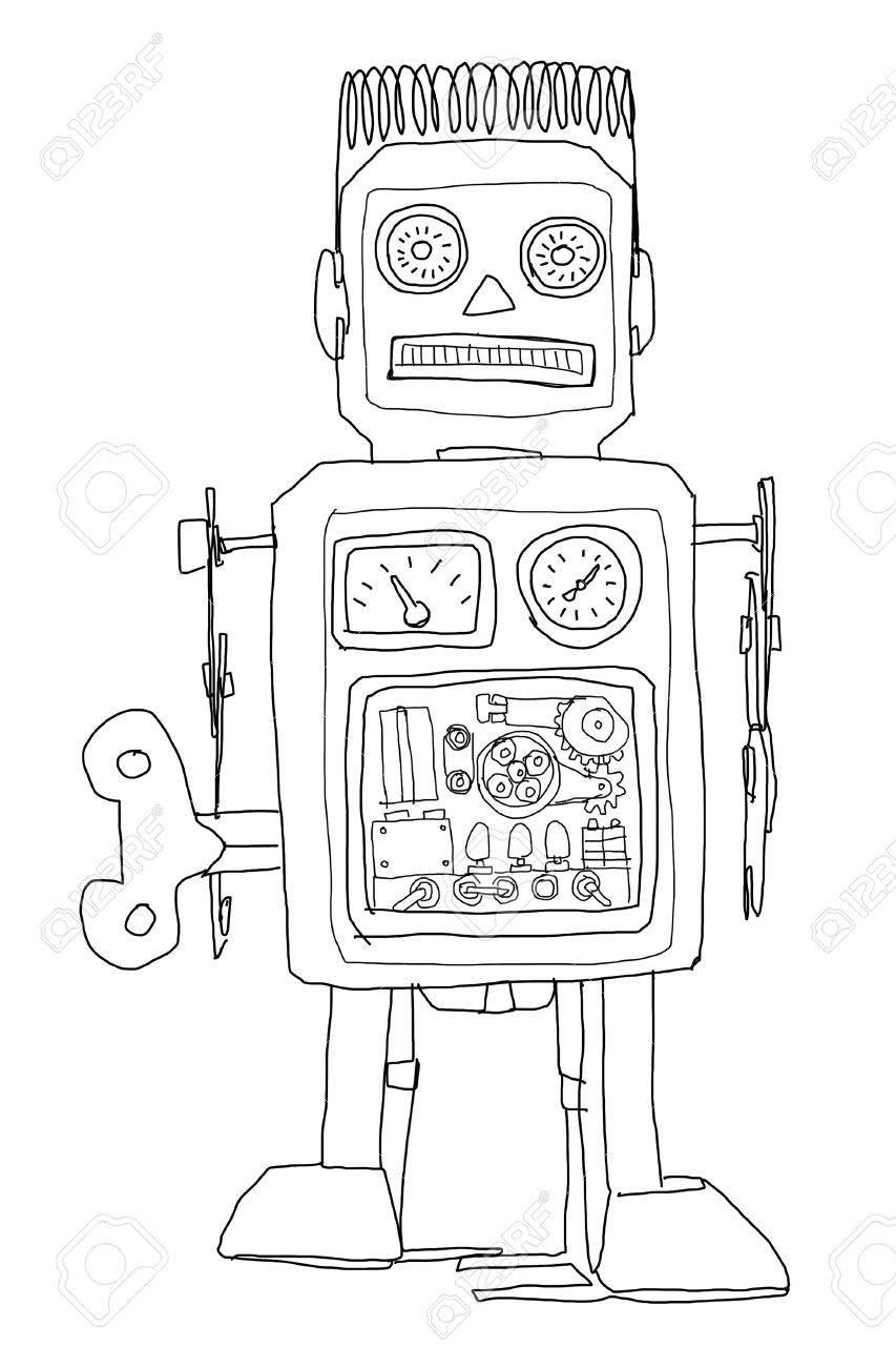 robot vintage toys b&w - 14981397