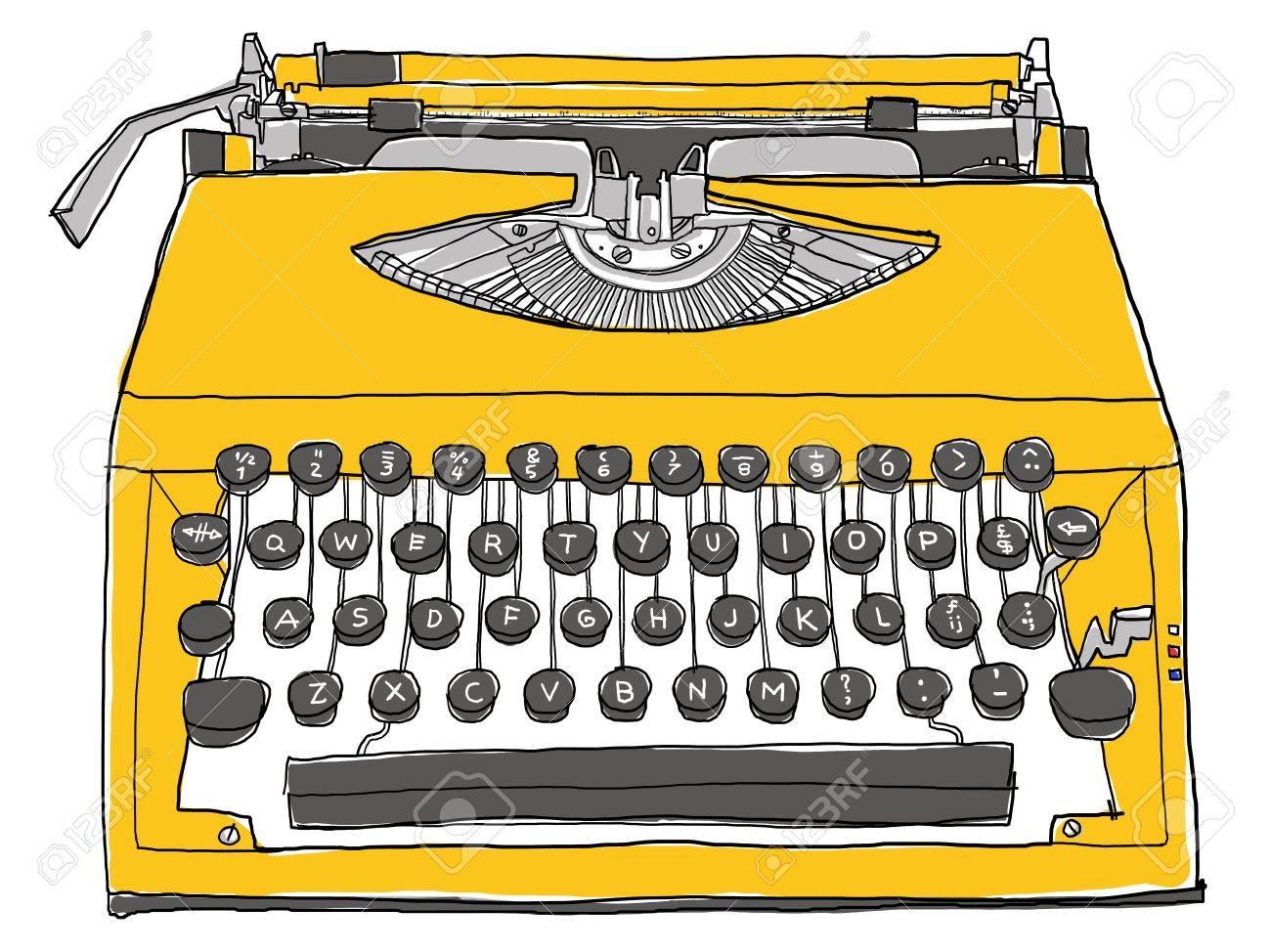 yellow Typewriter old - 14981462