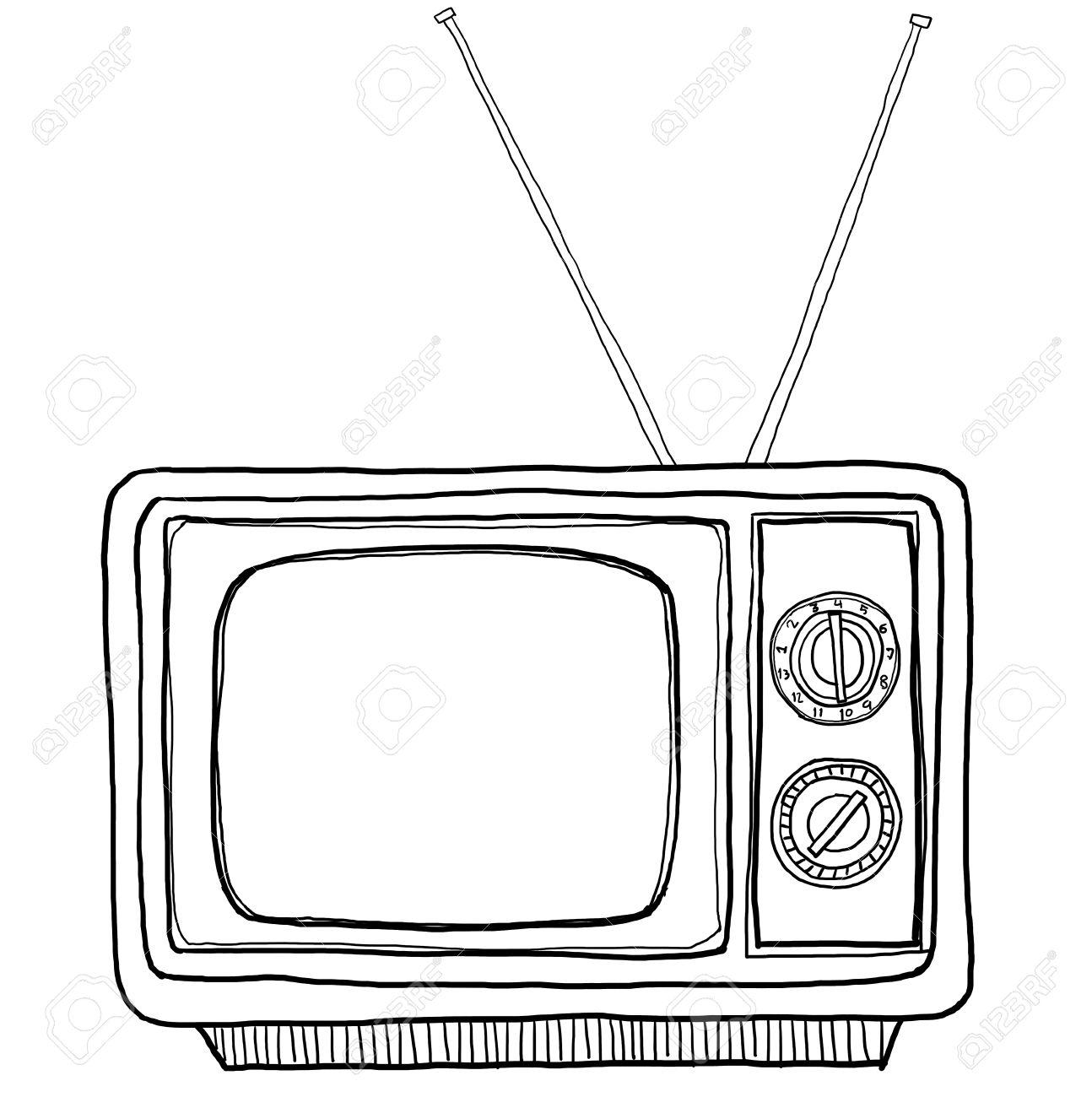 tv vintage line art - 15529211