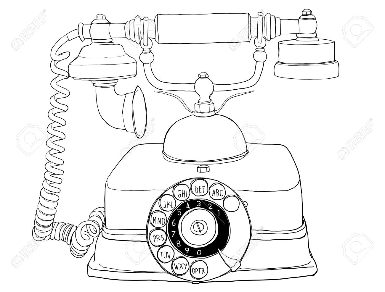 old style Telephone line art