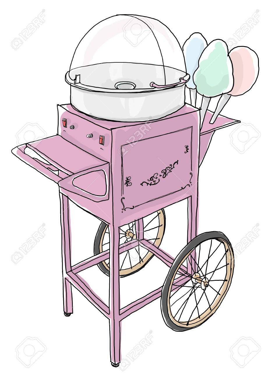 Cotton Candy Cart Old Fashioned line art - 20447229