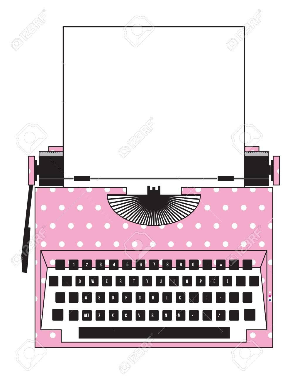 pink Typewriter polka dot - 28138953