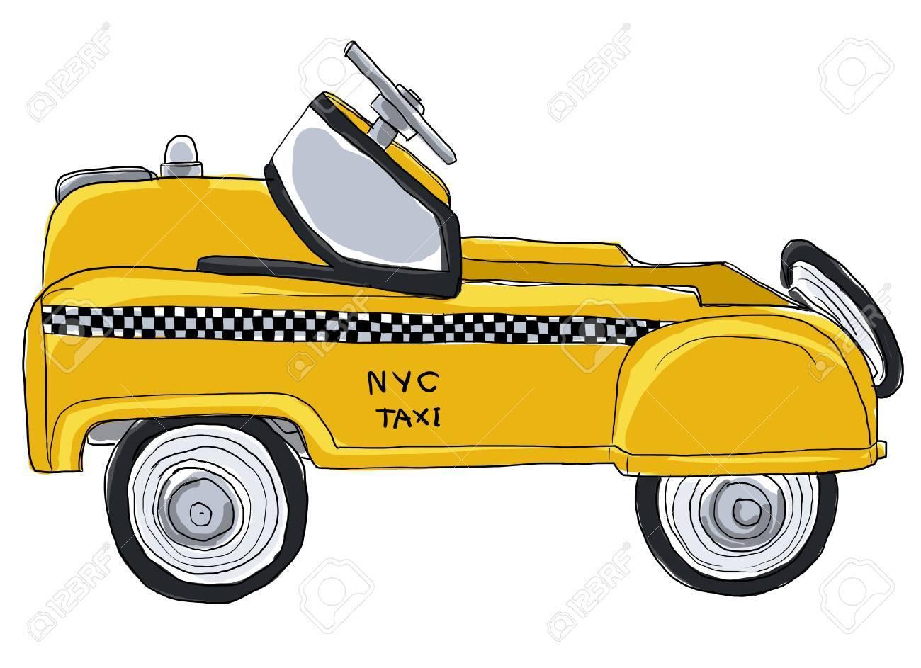 Stock Photo - Yellow taxi new york city vintage toys