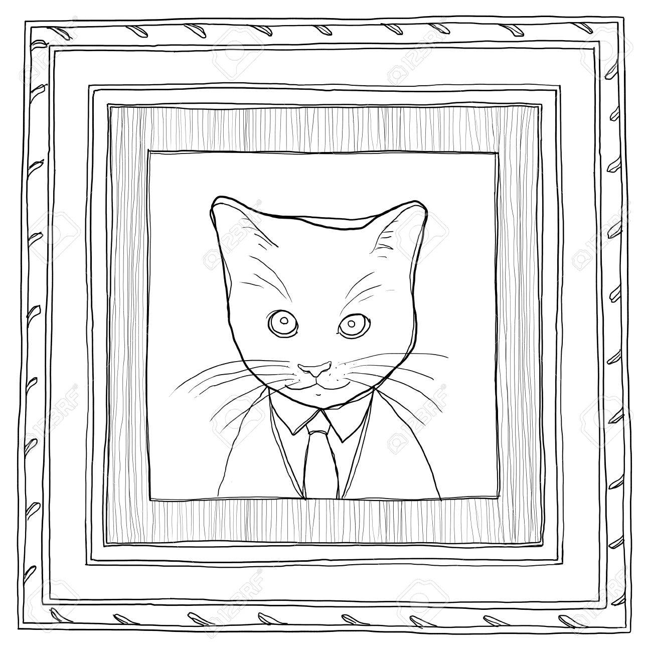 baf38826ef painting picture the cat in Wood Framed vintage line art Stock Photo -  30621297