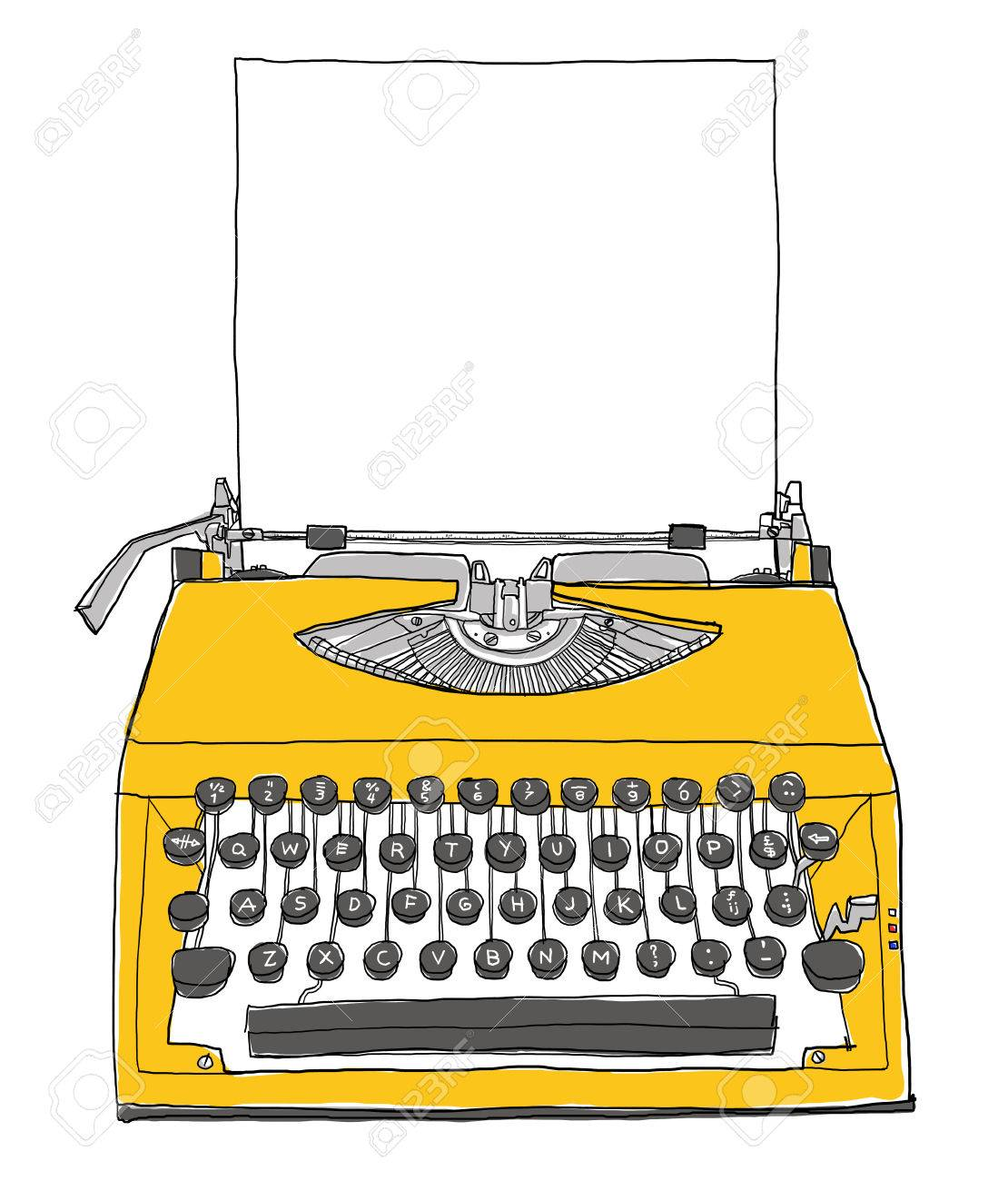 yellow Typewriter vintage with paper painting - 34173771
